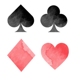 watercolor playing card suits vector image vector image