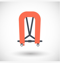 Inflatable life jacket flat icon vector