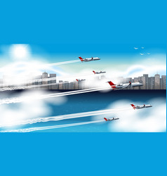 many airplanes flying in sky vector image vector image