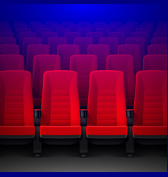 movie theater with rows of red empty chairs and vector image