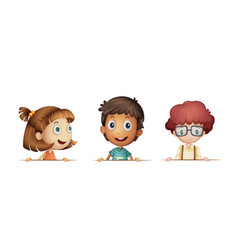 three children with happy face vector image vector image
