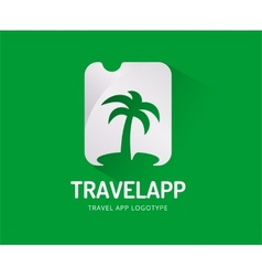 Abstract travel palm logo template for vector image