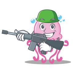 Army cute jellyfish character cartoon vector