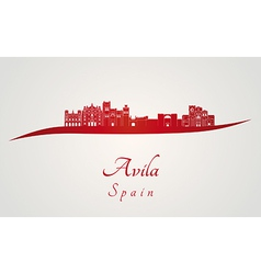 Avila skyline in red vector image