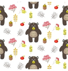Bear in woods cartoon white seamless pattern vector