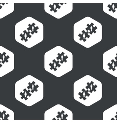 Black hexagon people puzzle pattern vector