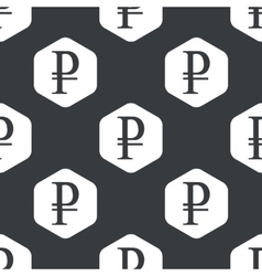 Black hexagon ruble pattern vector