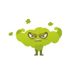 broccoli hero superhero character guard vector image