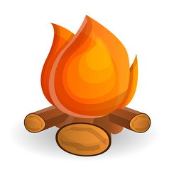burning campfire icon cartoon style vector image