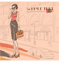businesswoman with case vector image