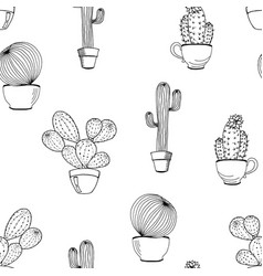 Cactus flower background seamless pattern vector
