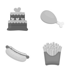Cake ham hot dog french friesfast food set vector