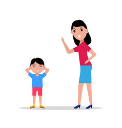 Cartoon angry mother scolding her child vector
