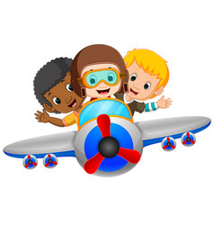 cartoon boy riding flying plane vector image