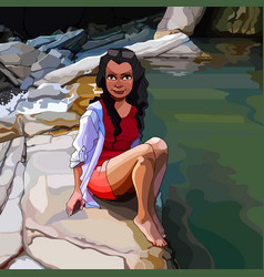 cartoon woman sitting on a rock by the river in vector image
