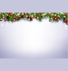 Christmas and new year shiny background with fir vector