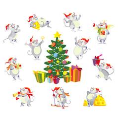 Christmas mousy set vector