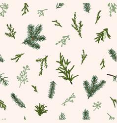 Christmas seamless green pattern vector