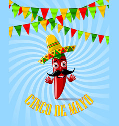 cinco de mayo celebration card or poster festival vector image