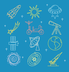 Colored space icons set in thin line style vector