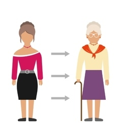 Concept of Aging Process Young and Old Woman vector