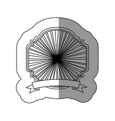 Contour emblem border ornamental with ribbon vector