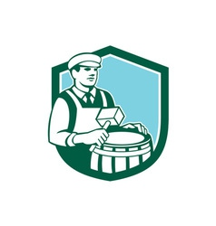 Cooper Barrel Maker Drum Retro Shield vector