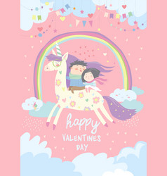 Couple in love riding on unicorn vector