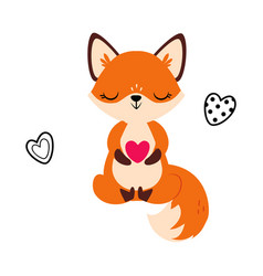 cute little fox sitting holding heart vector image