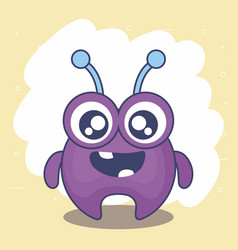cute monster card icon vector image