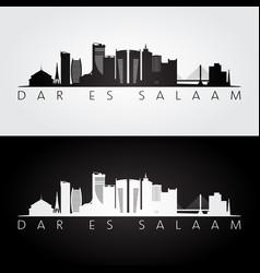 dar es salaam skyline and landmarks silhouette vector image