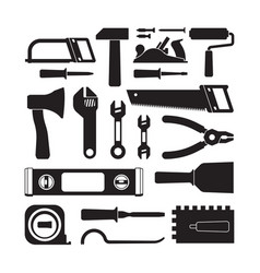 different construction tools black glyph icons set vector image