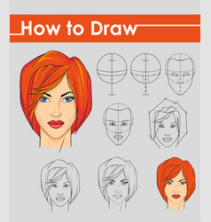 Draw tutorial step by step female face vector