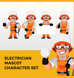 Electrician mascot character set logo icon vector