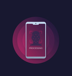 Face recognition biometric facial scan icon vector