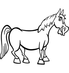 farm horse cartoon for coloring book vector image