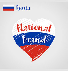 flag heart russia national brand vector image