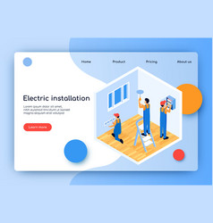 Flat electric installation landing page vector