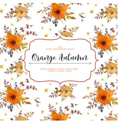 floral watercolor card design autumn orange vector image
