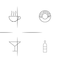 Food and drink simple linear icon setsimple vector