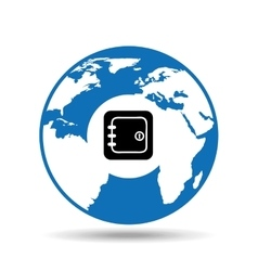 Globe world icon box safety design vector