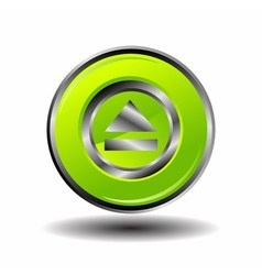 Green glossy round button web eject icon vector image