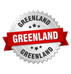 Greenland round silver badge with red ribbon vector image