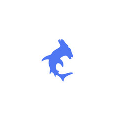Hammerhead shark logo vector