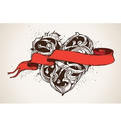 Hand-drawn vintage heart and red ribbon vector