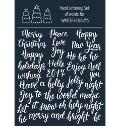 Hand lettering set of words for winter holidays vector image