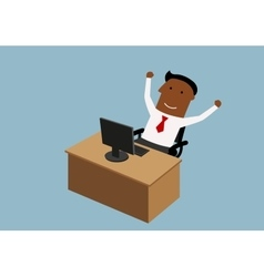 Happy cartoon businessman working in office vector