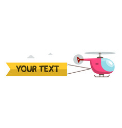 helicopter with text message isolated on white vector image