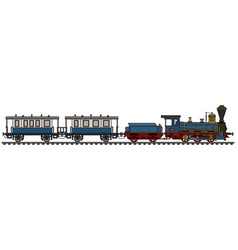 Historical blue steam train vector