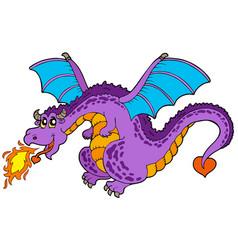 Huge flying dragon vector